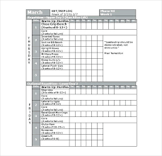 Work Out Charts Template Daily Workout Template