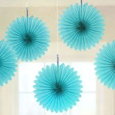 5 turquoise tissue paper fan decorations