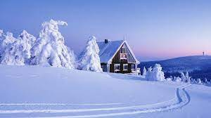 1920x1080 Peaks Deep Snow Cabin Trees ...