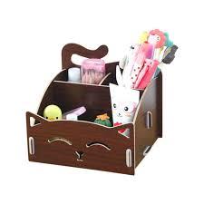 wooden makeup organizer wooden box cute cat pen box desktop storage assembly wood makeup organizer cosmetics wooden makeup organizer