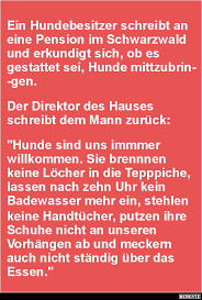 Ein Hundebesitzer Schreibt An Eine Pension Im Schwarzwald