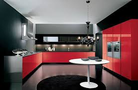 Beautiful Black And Red Kitchen Design Contemporary House
