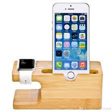 bamboo wood charger station for apple watch charging dock station charger stand holder for ip x 8 dock stand cradle holder phone charging pad power bank
