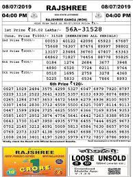 Rajshree Result Chart Rajshree Lottery Day Result 08 07 2019 Lottery Sambad