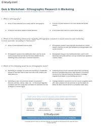 quiz worksheet ethnographic research in marketing com print what is ethnographic research in marketing definition methods examples worksheet