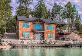 Concrete Cabin Kings Point Flathead Lake Montana Concrete Log Siding Cabin