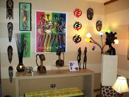 african living room decor with statuetteasks