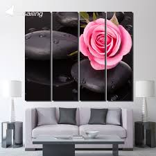 4 piece canvas pink rose stone pebble posters and prints wall art canvas prints living room on pink rose canvas wall art with 4 piece canvas pink rose stone pebble posters and prints wall art