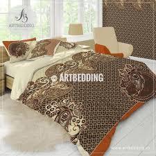 valuable art deco bedding vintage bohemian paisley boho orange brown duvet cover set