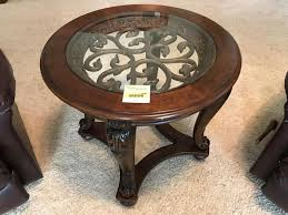wood and metal glass top side table 26 inches round 28 inch tall cur 65