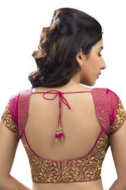 Dark Pink Gold Festive Wear Raw Silk Net Blouse With Cap