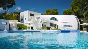 ... Cool Pool Houses Design : Luxury House Design With Unique White Shape  Designed With Ladder Complete ...