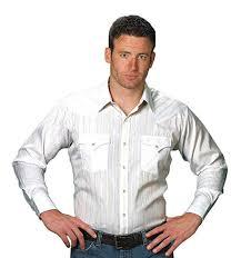 Ely Cattleman Long Sleeve Mens White Lurex Snap Western Shirt