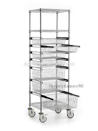 Mobile Sliding Basket Trolley with Precision Bearing Slides, wide baskets,  combined with Chrome Wire Shelving.