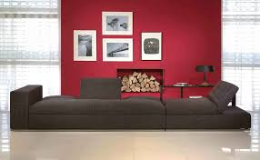 affordable modern furniture with red wall and black sofa and cushion and floor and curtain