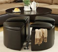 round coffee table with storage stools