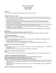 Sample Resume For Financial Services Sample Resume Finance University Of Colorado Denver
