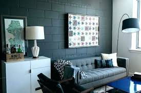 painting block wall interior cinder walls condo industrial living room best paint for concrete in int