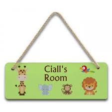 personalised children s hardboard hanging bedroom door sign plaque jungle animals design 12 99