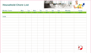 Weekly Chore List Template Household Chore List Template Buraq Printables