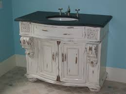 Small Shabby Chic Whitewashed Wood Bathroom Vanity With Black