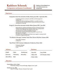 Resume Breakdown Kathleen Schenckcompositor And Junior Coordinator