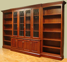 Glass Bookshelf Cherry Bookcase With Leaded Glass Doors And Open Side Bookcases