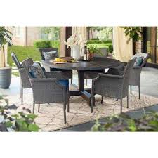 grayson ash gray 7 piece wicker round outdoor dining set with olefin blue cushions