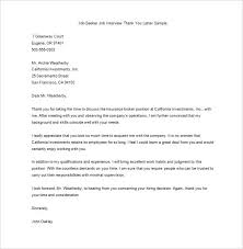 Thank You Letters After An Interview Template Business