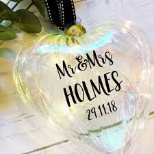 Personalised Light Up Christmas Baubles Light Up Christmas Bauble Large 15cm Glass Heart Personalised
