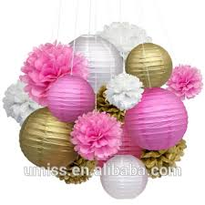 Flower Paper Lanterns Umiss 15pcs Pink Gold White Marriage Decoration Party Backdrop Tissue Pom Poms Flowers Paper Lanterns Buy Pink Gold White Marriage Decoration Paper