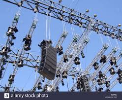 concert stage speakers. stock photo - loud speakers and lighting set up on concert stage c