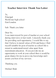 Letter To Interview 20 Sample Format Of Thank You Letter Template After