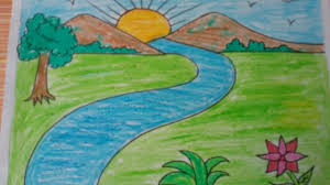 simple landscape painting for kids how to draw a landscape kids drawing mountains
