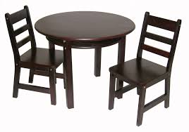 child s round table with shelf 2 chairs espresso finish lipper international table chair sets
