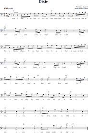 Dixie Chords Lyrics And Bass Clef Sheet Music