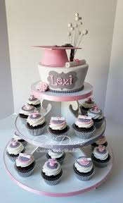 Pink And Grey Graduation Cupcake Tower Graduation Cakes Cupcakes