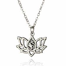 whole silver necklace vintage women lotus yoga flower pendant necklace collares men hip hop new fashion long chain shellhard jewelry mens gold chains