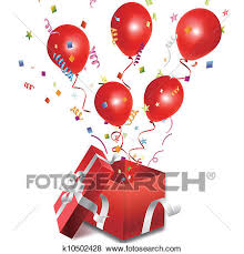 clip art balloons out of the open gift box fotosearch search clipart