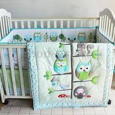 Owl Baby Bedding | eBay & 7PCS Baby Bedding Set Owl Family Nursery Quilt Bumper Sheet Soft Crib Skirt  US Adamdwight.com