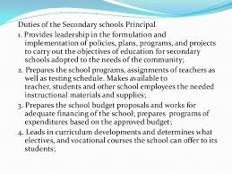 essay 37 duties of the secondary schools principal