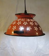 Retro Kitchen Light Fixtures Vintage Colandar Upcycled Pendant Light Repurposed Hanging