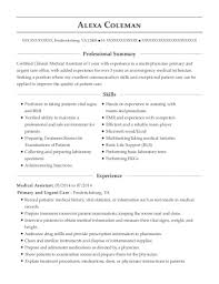Primary And Urgent Care Medical Assistant Resume Sample Interesting Medical Assistant Summary For Resume