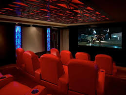 modern home theater. modern home theater with high ceiling, carpet b
