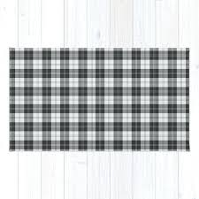 black and white rug clan tartan check runner