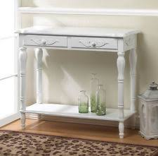 distressed white chic shabby sofa 2 drawer buffet console entry hall table shelf chic shabby french style distressed