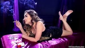 Sexy women smoking heavily