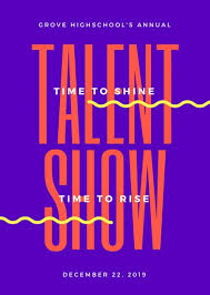 Talent Show Poster Designs Purple And Orange Bold Talent Show Flyer Templates By Canva