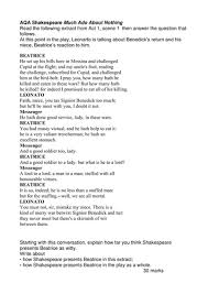 aqa much ado about nothing extracts questions by walbere  aqa much ado about nothing 15 extracts questions by walbere teaching resources tes