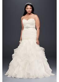 ruffled organza plus size mermaid wedding dress david s bridal